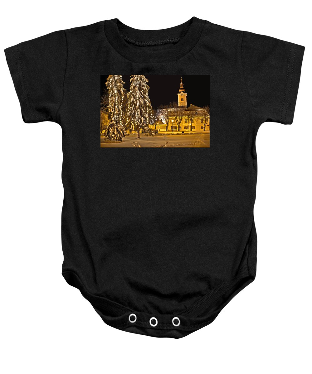 Krizevci Baby Onesie featuring the photograph Idylic Winter Cityscape Evening In Snow by Brch Photography