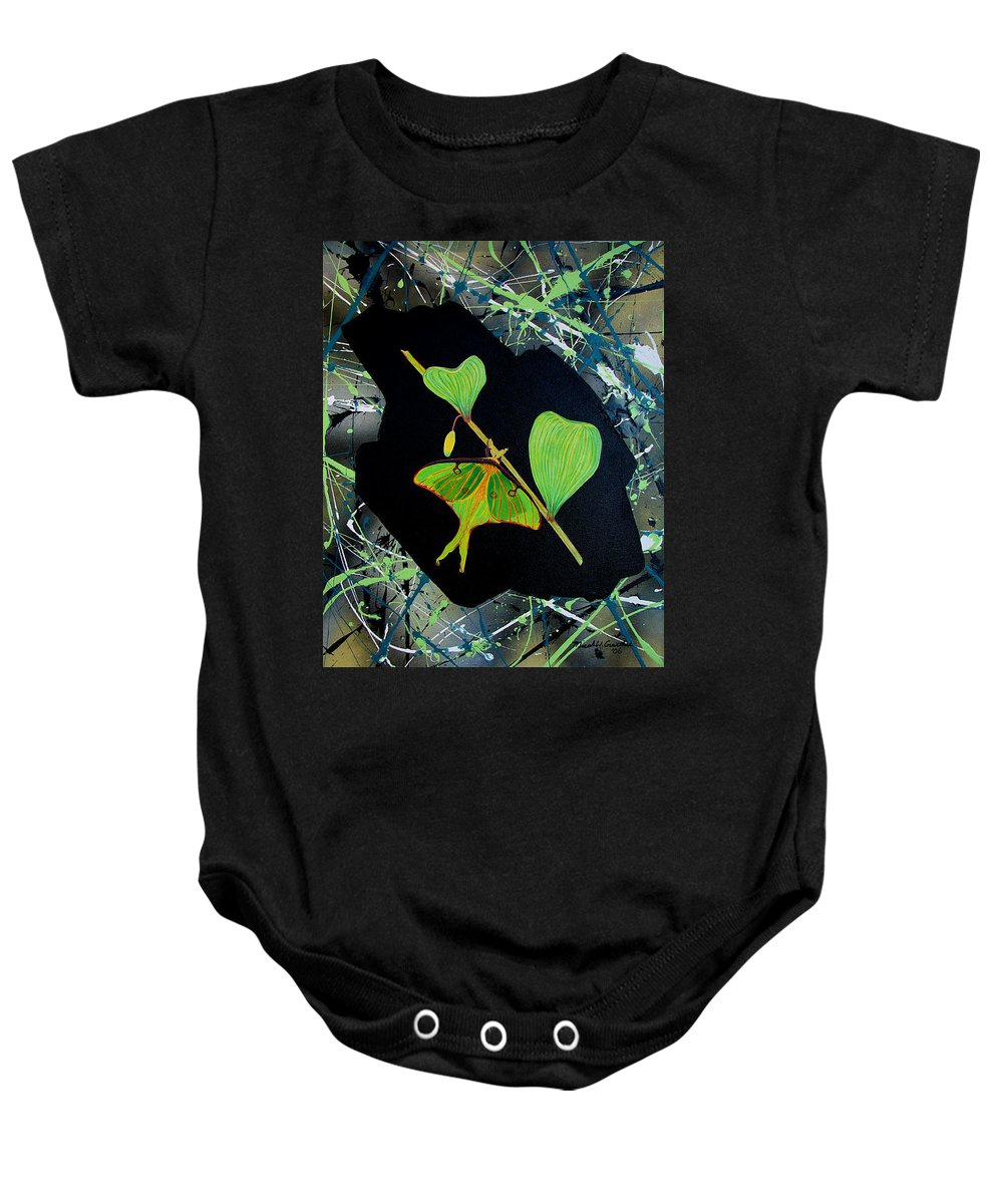 Abstract Baby Onesie featuring the painting Imperfect IIi by Micah Guenther