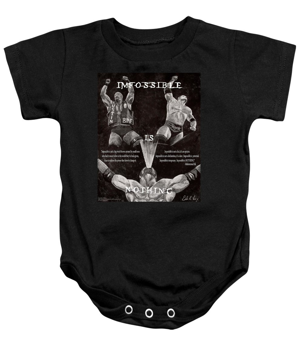 Wwe Baby Onesie featuring the painting Impossible Is Nothing by Dale Loos Jr