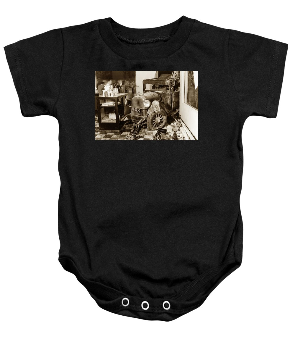 Carmel Dairy Baby Onesie featuring the photograph in Carmel Dairy with a Essex Super Six that the driver lost cont by California Views Archives Mr Pat Hathaway Archives