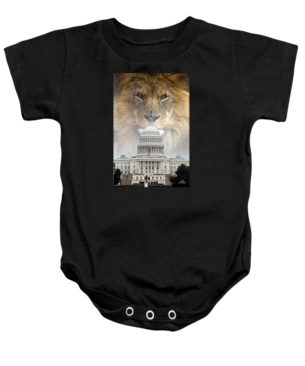 Lions Baby Onesie featuring the digital art In God We Trust by Bill Stephens