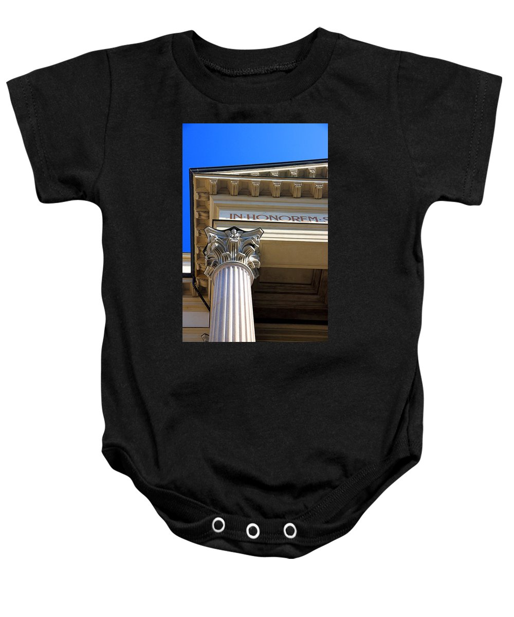 Column Baby Onesie featuring the photograph In Honorem by Valentino Visentini