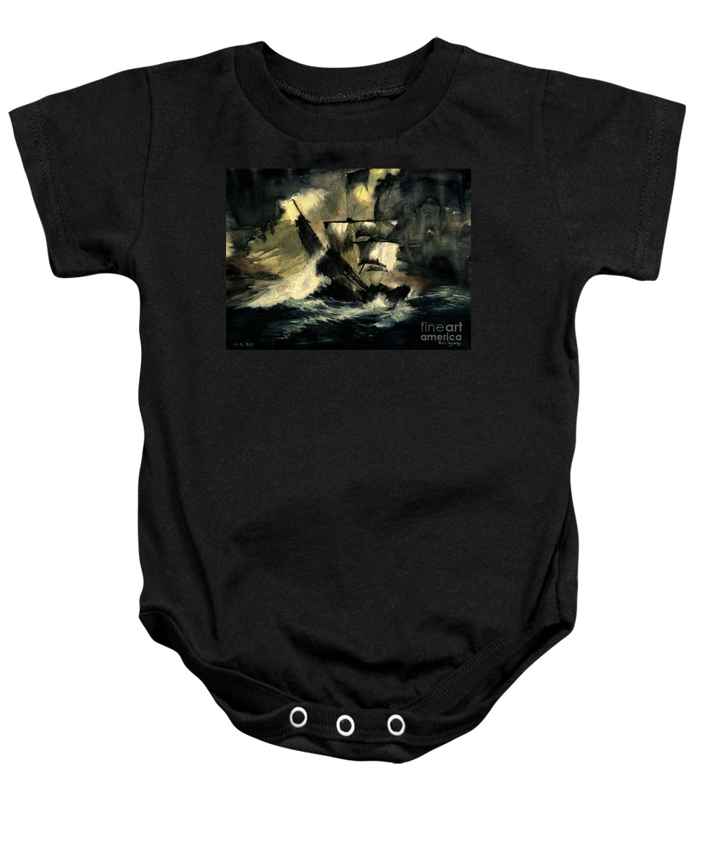 Pirates Ships Baby Onesie featuring the painting In The Dark by Melly Terpening