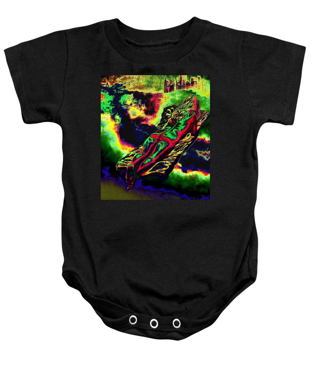 Genio Baby Onesie featuring the mixed media In The Kaleidoscopic Clutches Of Books by Genio GgXpress