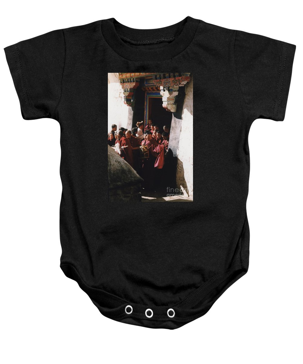 First Star Baby Onesie featuring the photograph In Tibet Tibetan Monks 5 By Jrr by First Star Art