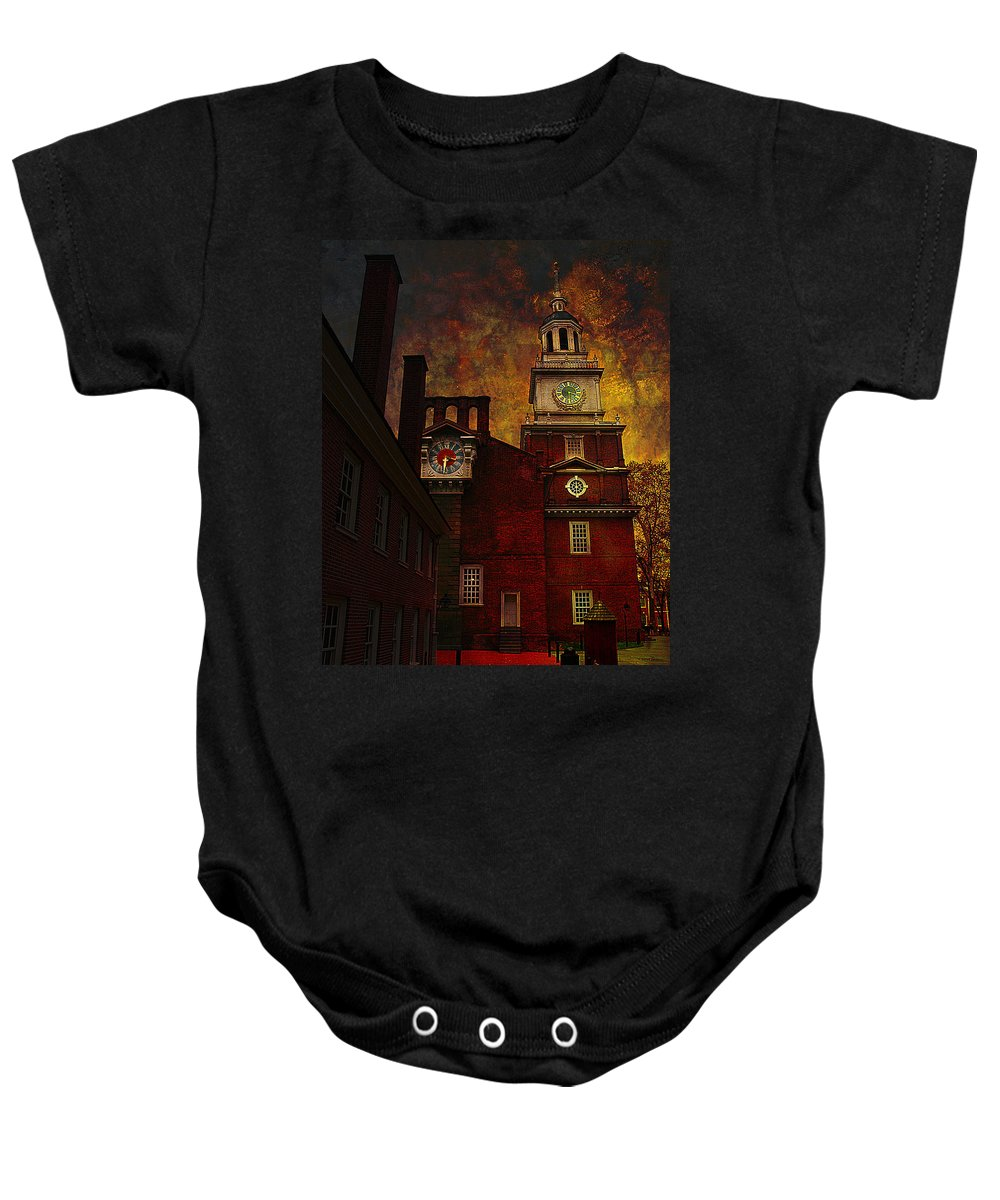 Philadelphia Baby Onesie featuring the photograph Independence Hall Philadelphia Let Freedom Ring by Jeff Burgess