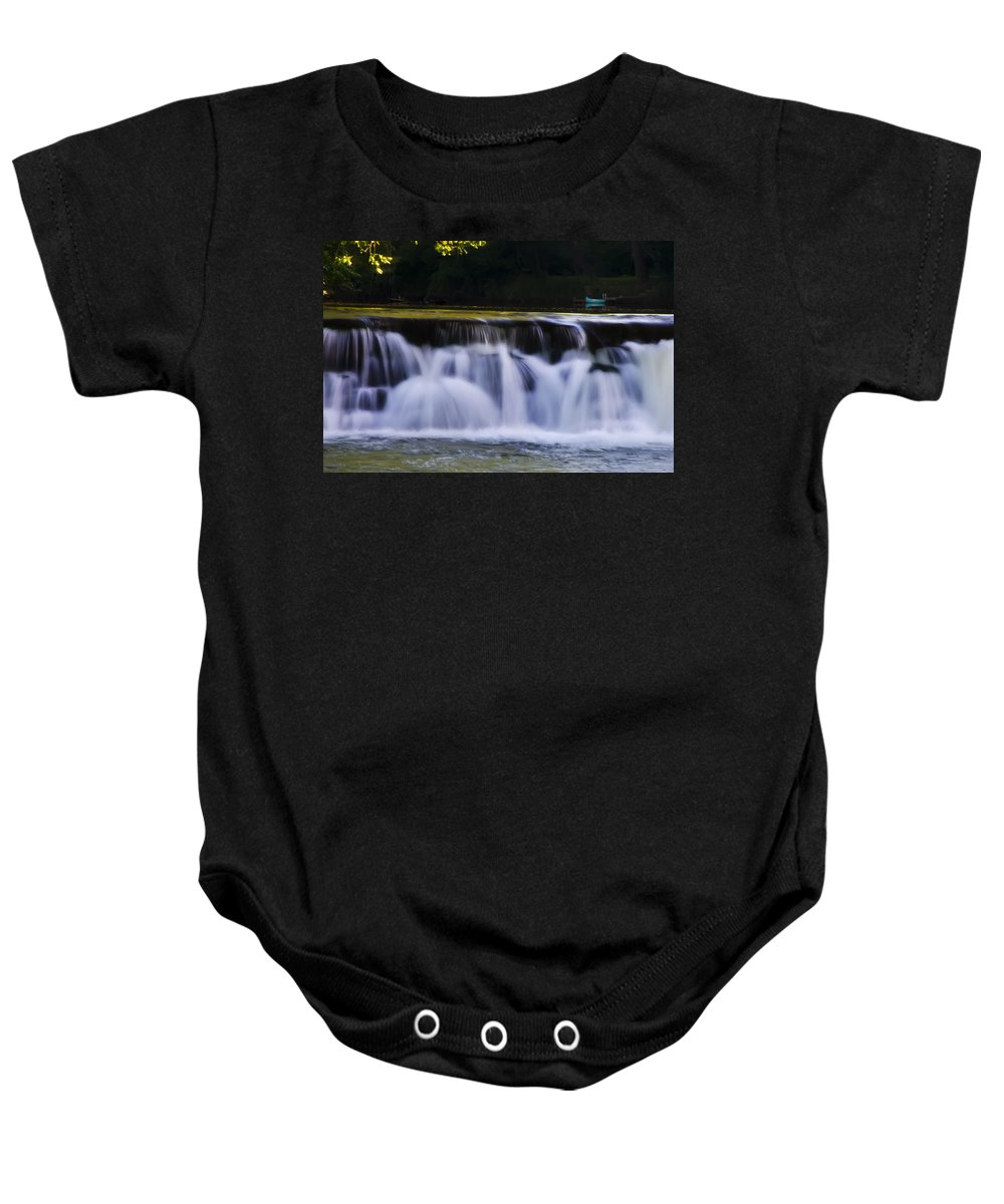 Indianhead Baby Onesie featuring the photograph Indianhead Dam - Montgomery County Pa. by Bill Cannon