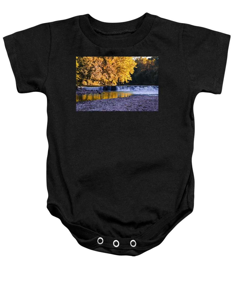 Indianhead Baby Onesie featuring the photograph Indianhead Dam - Perkiomen Creek by Bill Cannon