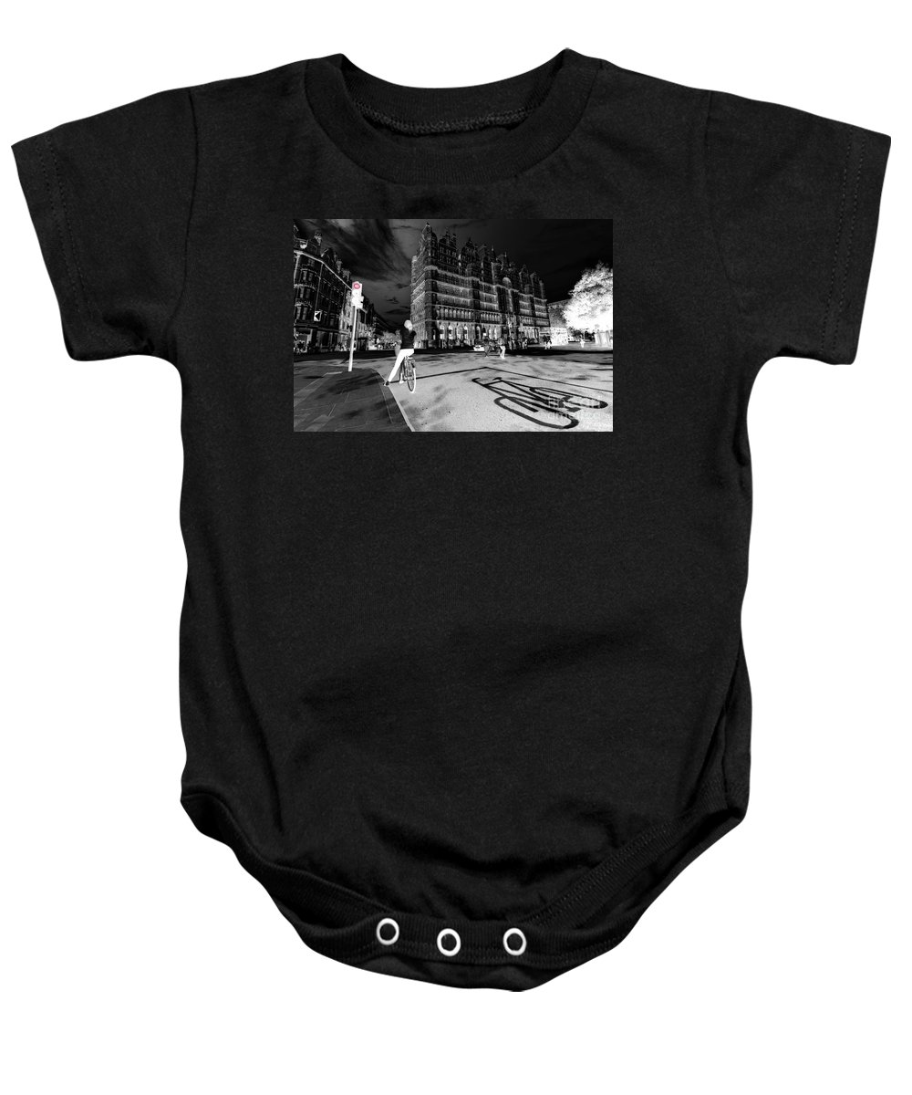 Russel Baby Onesie featuring the photograph Inner City Cycling by Rob Hawkins