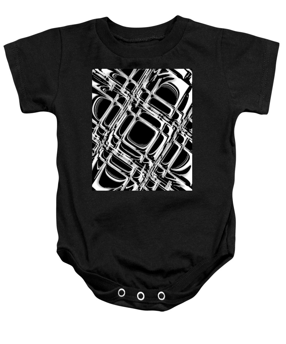 Black And White Baby Onesie featuring the digital art Inner Workings by Pharris Art