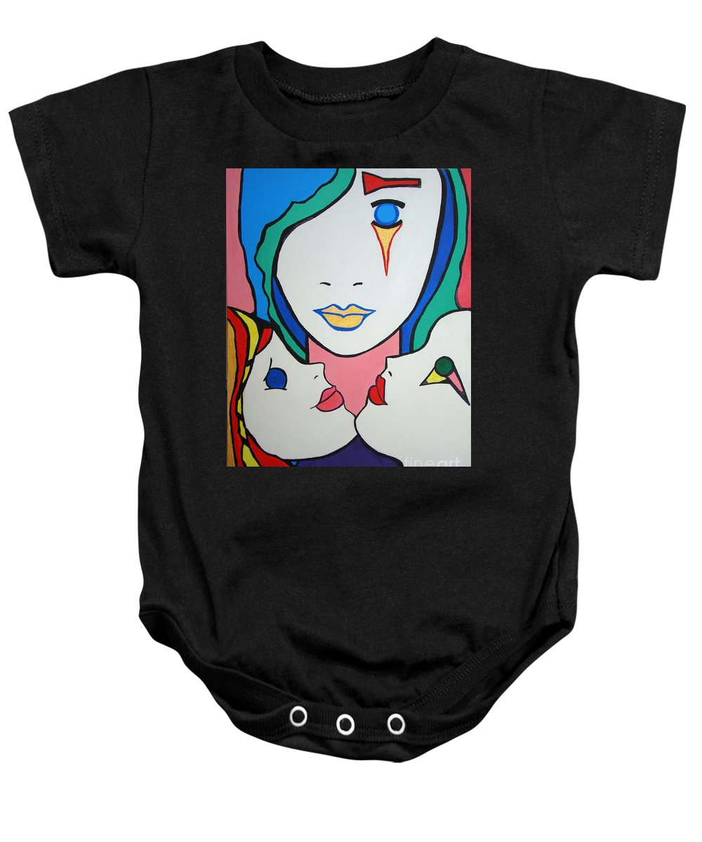 Pop-art Baby Onesie featuring the painting Innocence by Silvana Abel