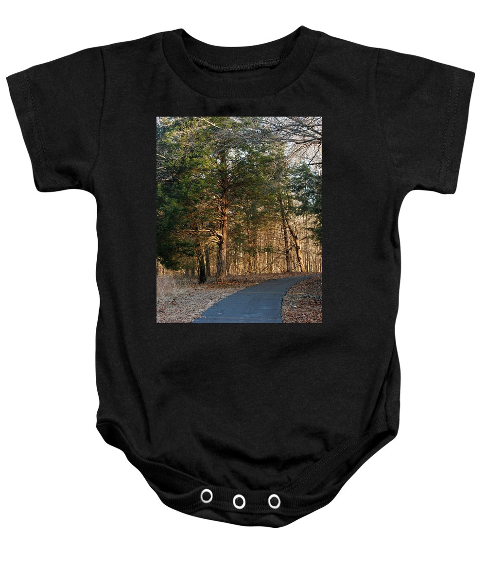 Woods Baby Onesie featuring the photograph Into The Woods by Pamela Peters