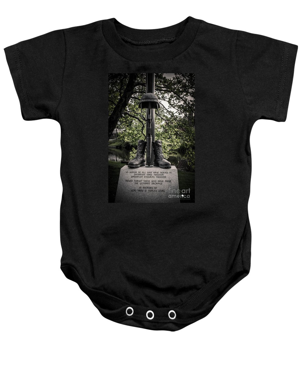 Eaton Rapids Baby Onesie featuring the photograph Iraqui Freedom Memorial by Grace Grogan