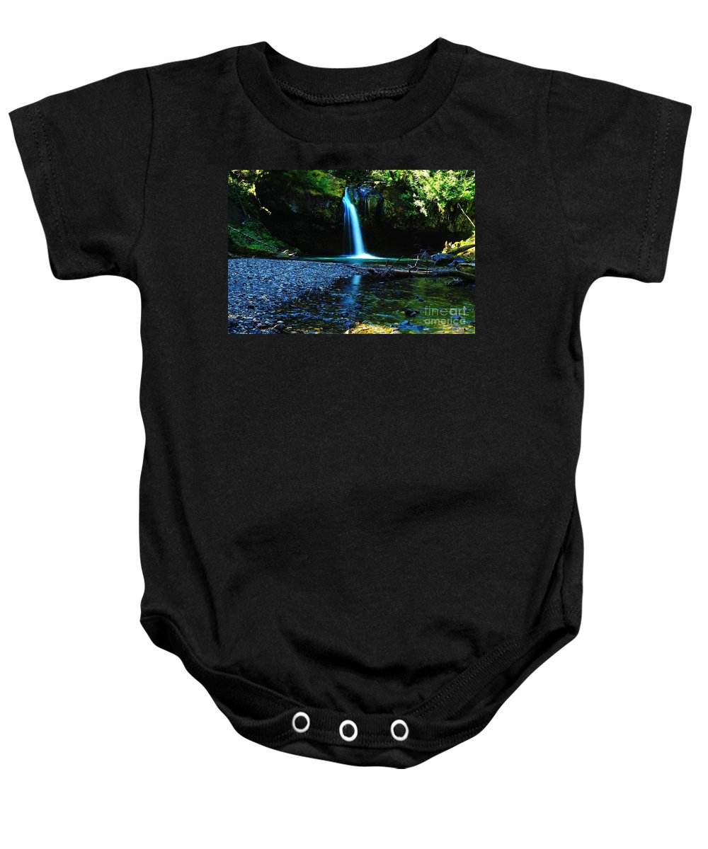 Waterfall. Water Baby Onesie featuring the photograph Iron Creek Falls by Jeff Swan