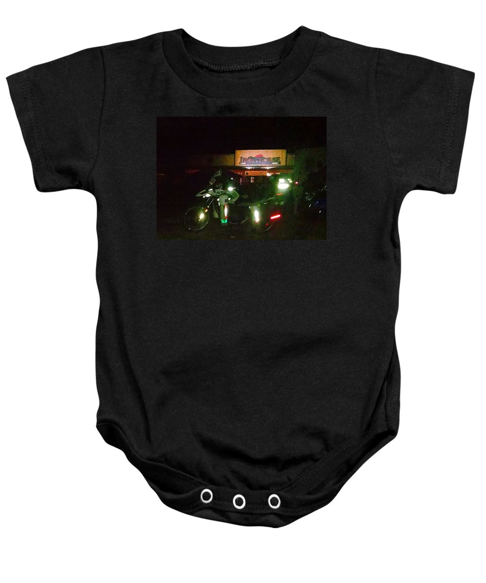 Iron Horse Lodge Resort Baby Onesie featuring the photograph Iron Horse Lodge Evening by Jeff Kurtz