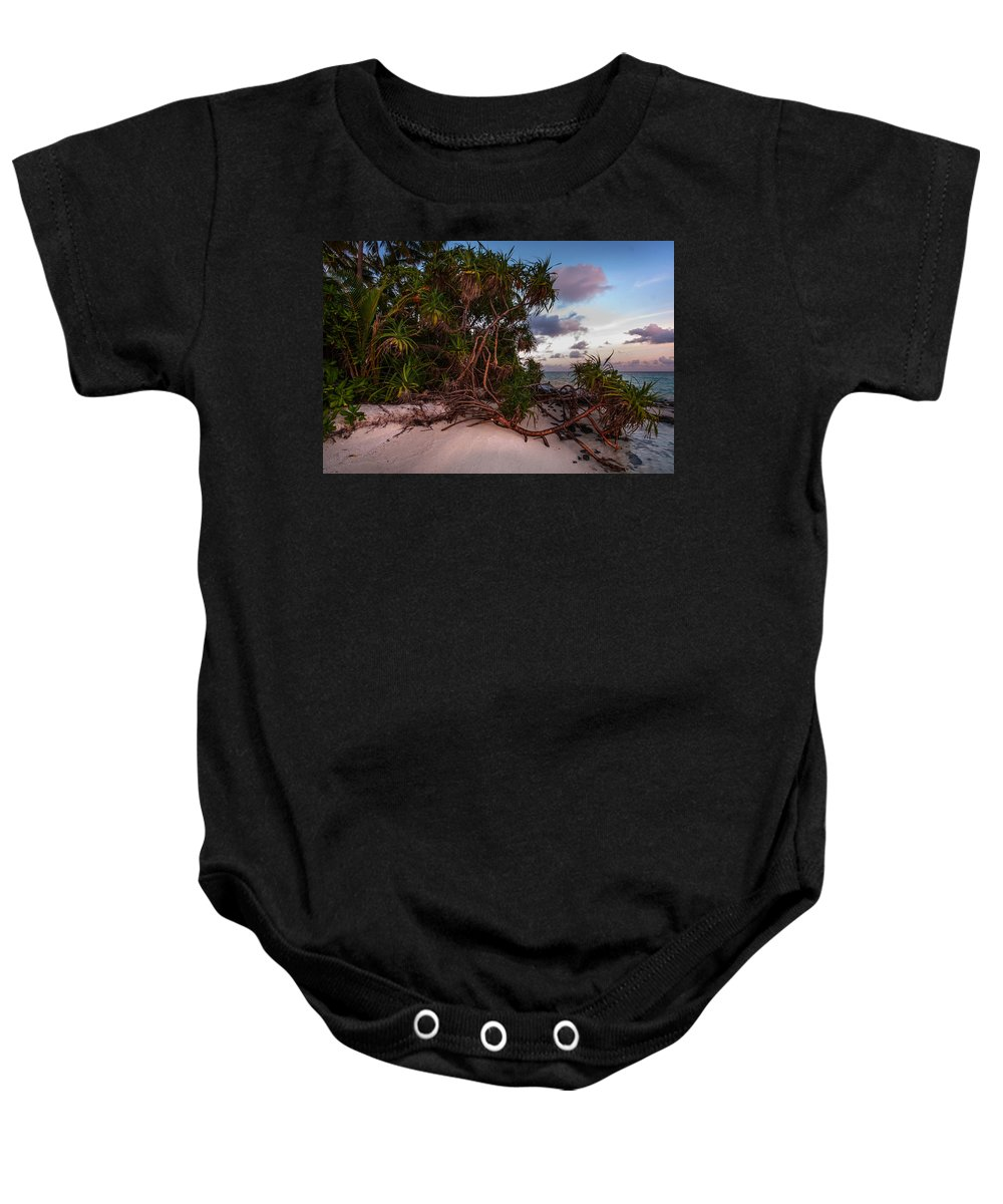 Maldives Baby Onesie featuring the photograph Island Sunset by Jenny Rainbow