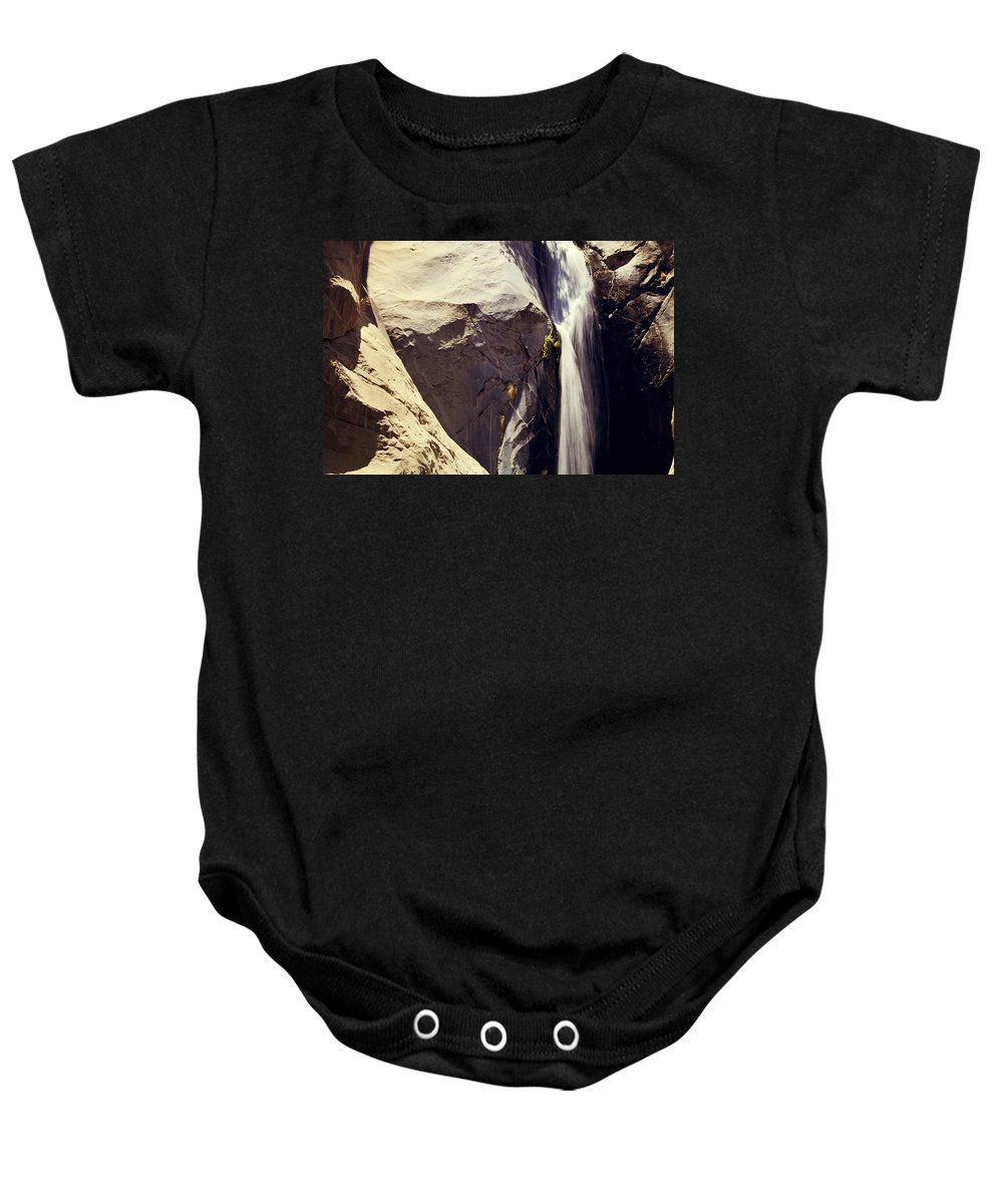 Waterfalls Baby Onesie featuring the photograph It Pours Down by Laurie Search