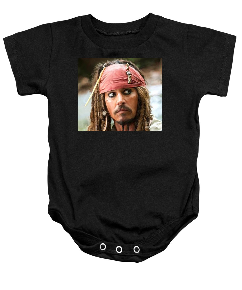 Depp Baby Onesie featuring the painting Jack Sparrow by Paul Tagliamonte