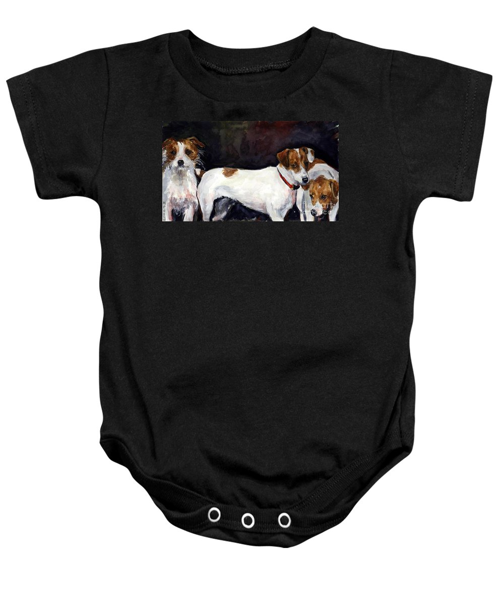 Jack Russell Terriers Baby Onesie featuring the painting Jack Trio by Molly Poole
