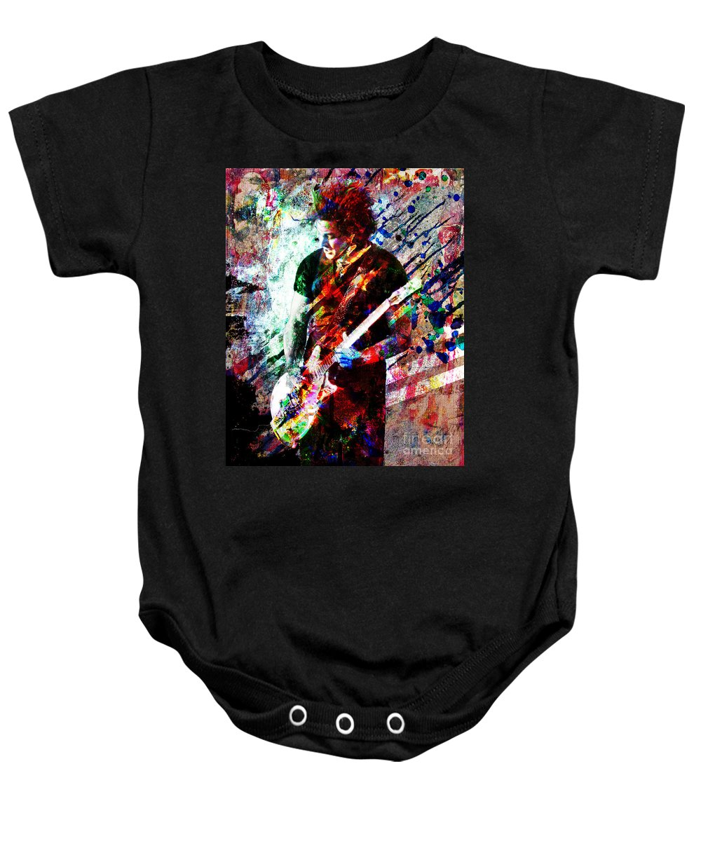 Jack White Baby Onesie featuring the photograph Jack White by David Plastik