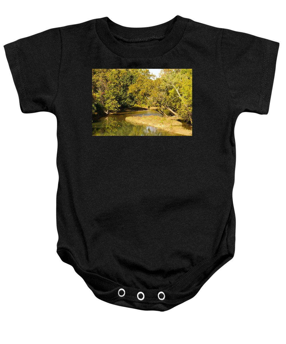 Brown Baby Onesie featuring the photograph James River In The Fall by Jennifer White