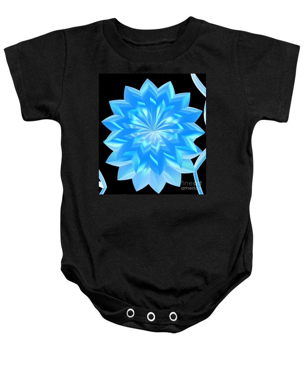 First Star Art Baby Onesie featuring the digital art jammer Blue Shimmer Lotus by First Star Art