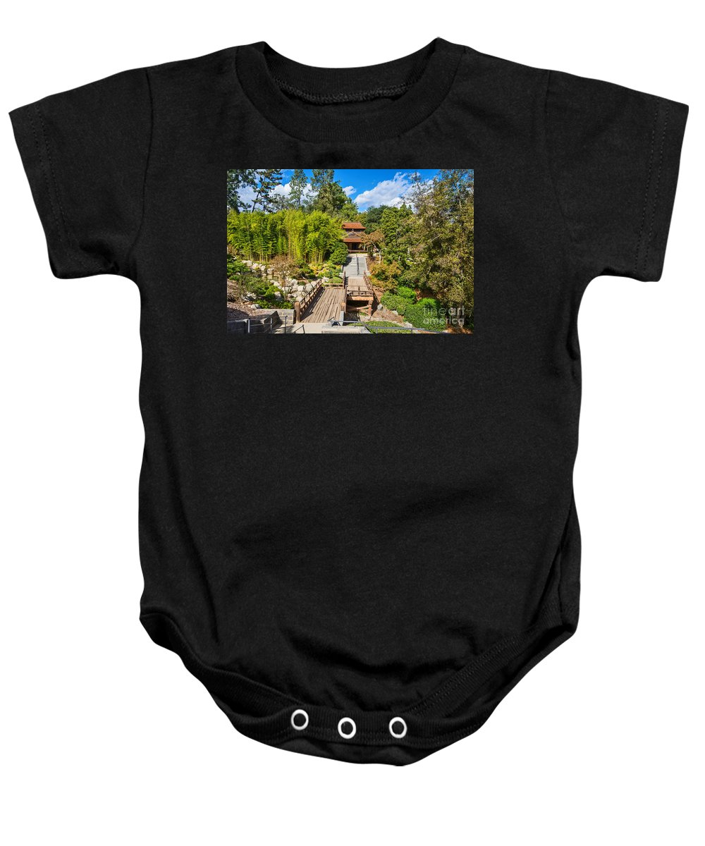 Japanese Garden Baby Onesie featuring the photograph Japan In Pasadena - Beautiful View Of The Newly Renovated Japanese Garden In The Huntington Library. by Jamie Pham