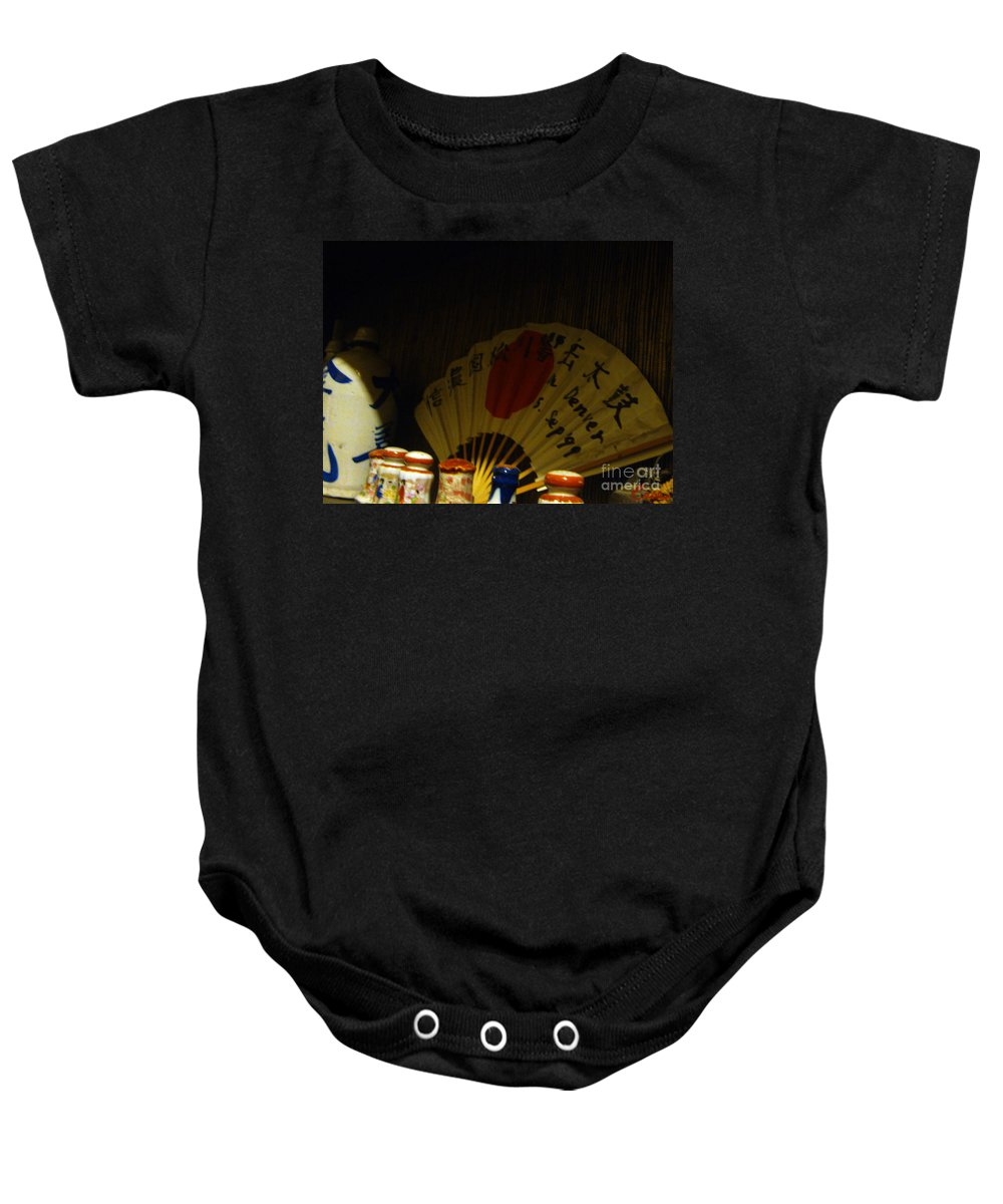 Fan Baby Onesie featuring the photograph Japanese Fan Says Denver Sep 1999 by Feile Case