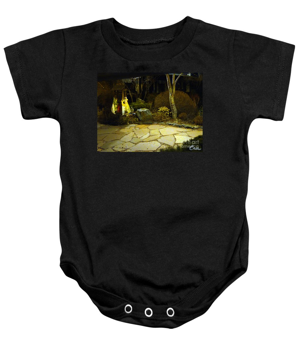 Japanese Garden Baby Onesie featuring the photograph Japanese Garden Simple Shrine Lit At Night 01 by Feile Case