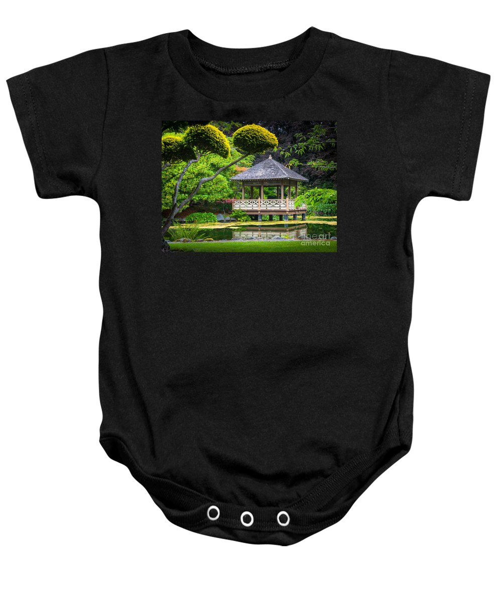 America Baby Onesie featuring the photograph Japanese Gazebo by Inge Johnsson