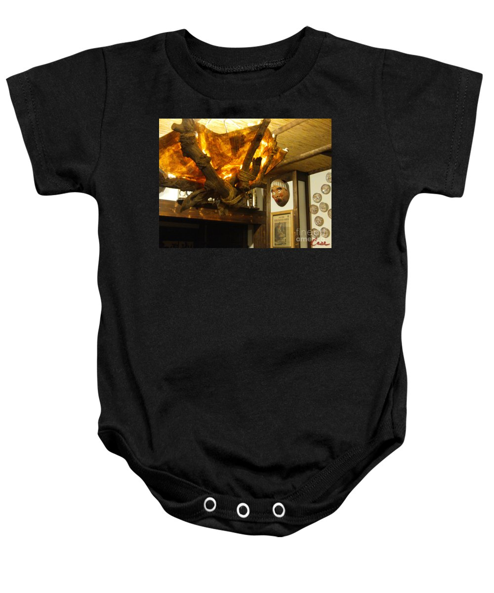 Sake Baby Onesie featuring the photograph Japanese Handmade Chandelier With Mask And Plates by Feile Case