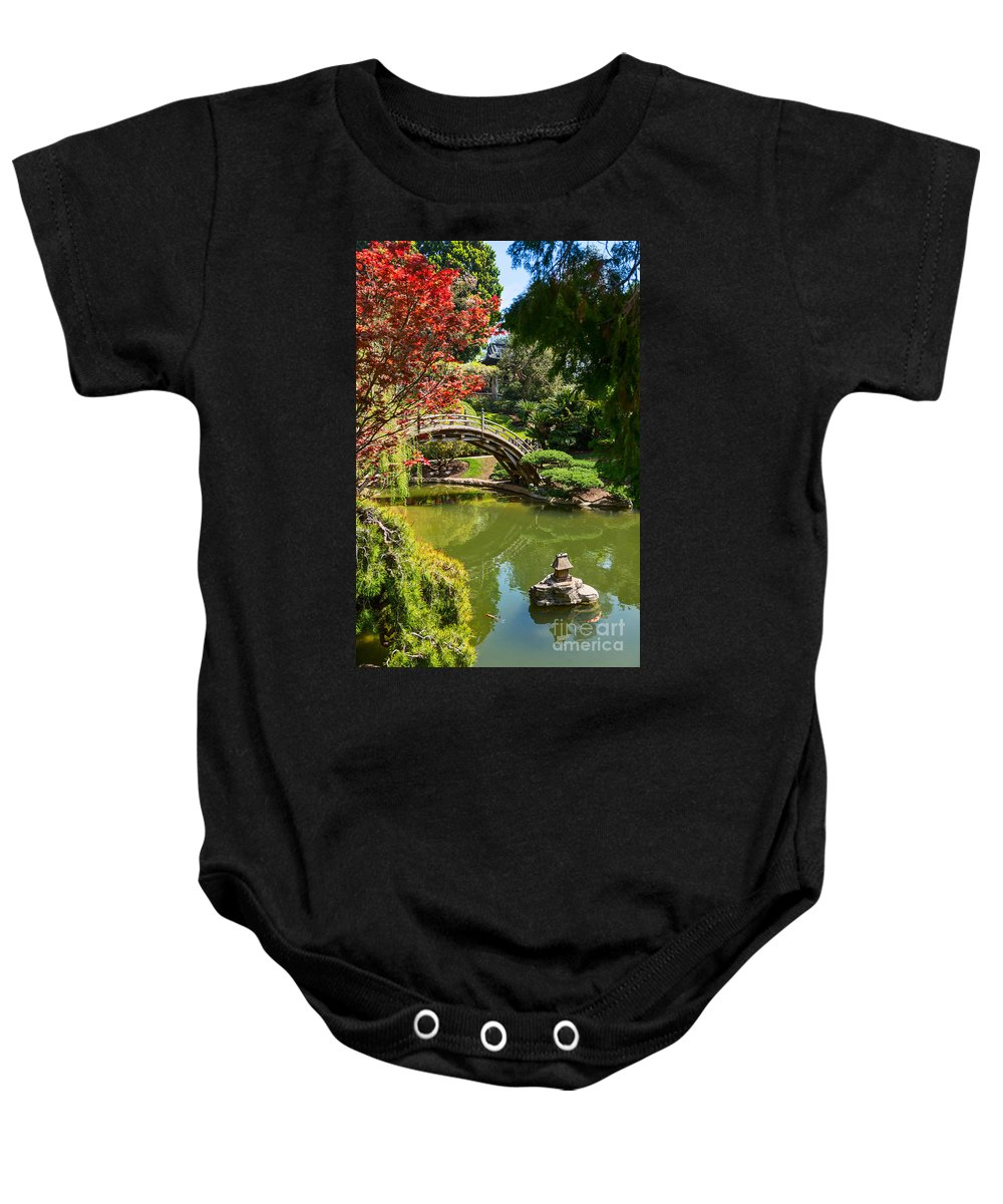Spring Baby Onesie featuring the photograph Japanese Spring - The Japanese Garden Of The Huntington Library. by Jamie Pham