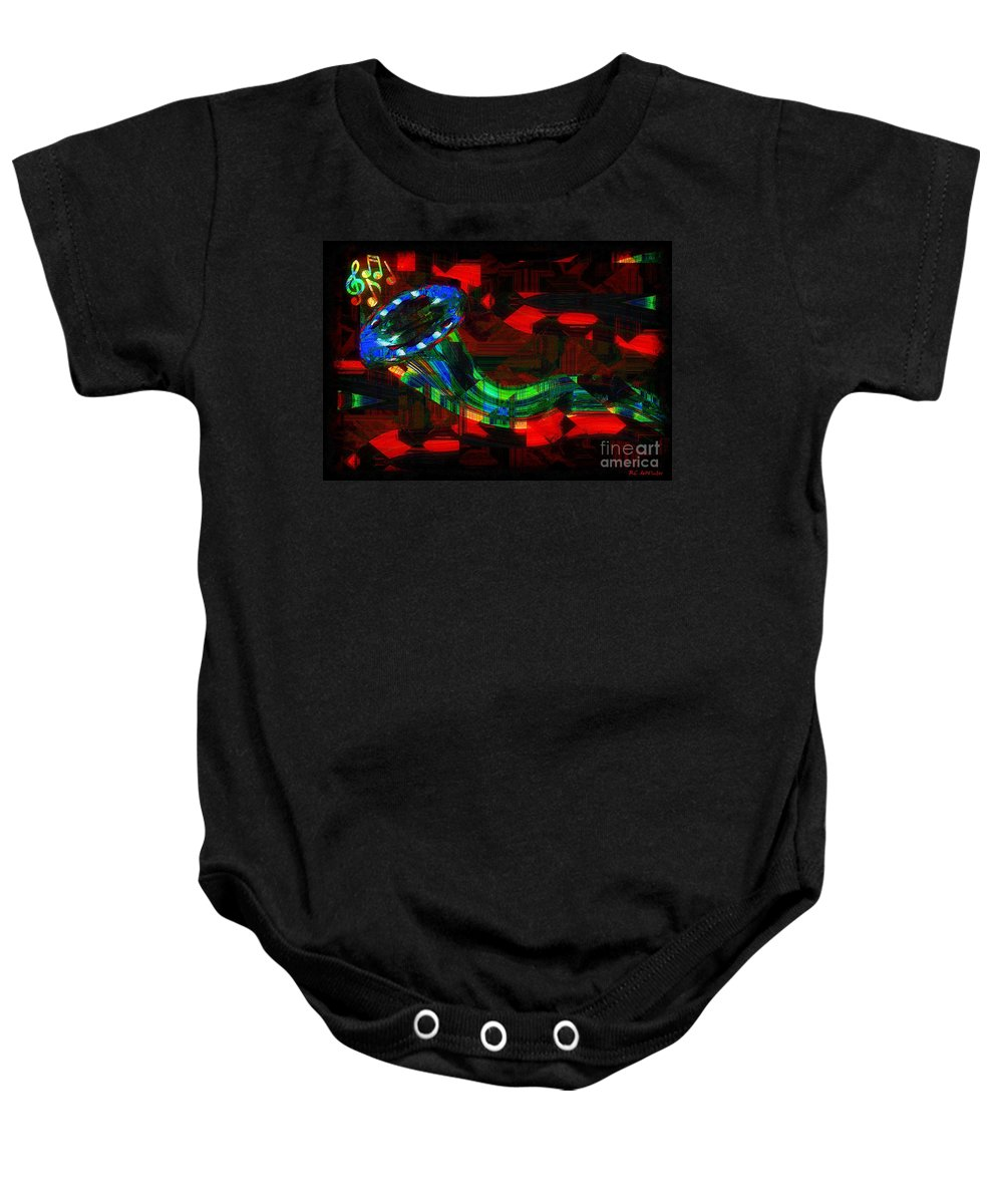 Horn Baby Onesie featuring the painting Jazz At Midnight by RC DeWinter