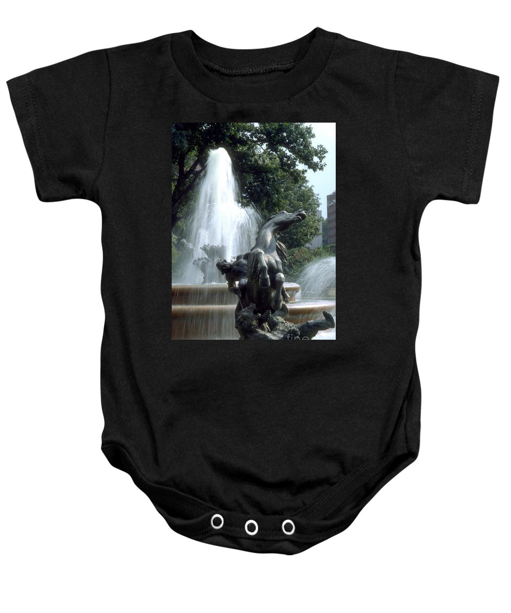 Fountain Baby Onesie featuring the photograph J.c.nichols Fountain 1 Kc.mo by Gary Gingrich Galleries