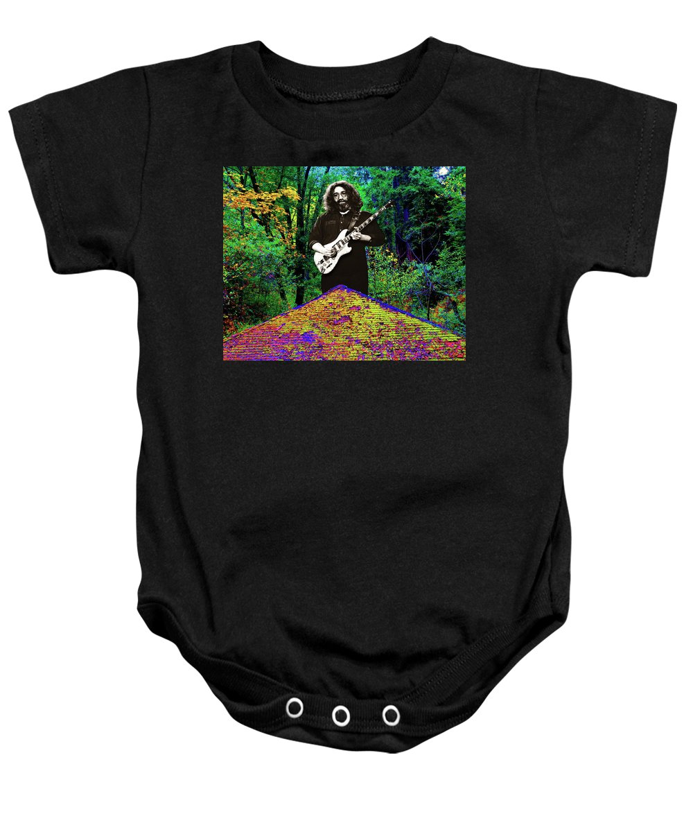 Grateful Dead Baby Onesie featuring the photograph Jerry At The Cosmic Pyramid In The Woods by Ben Upham