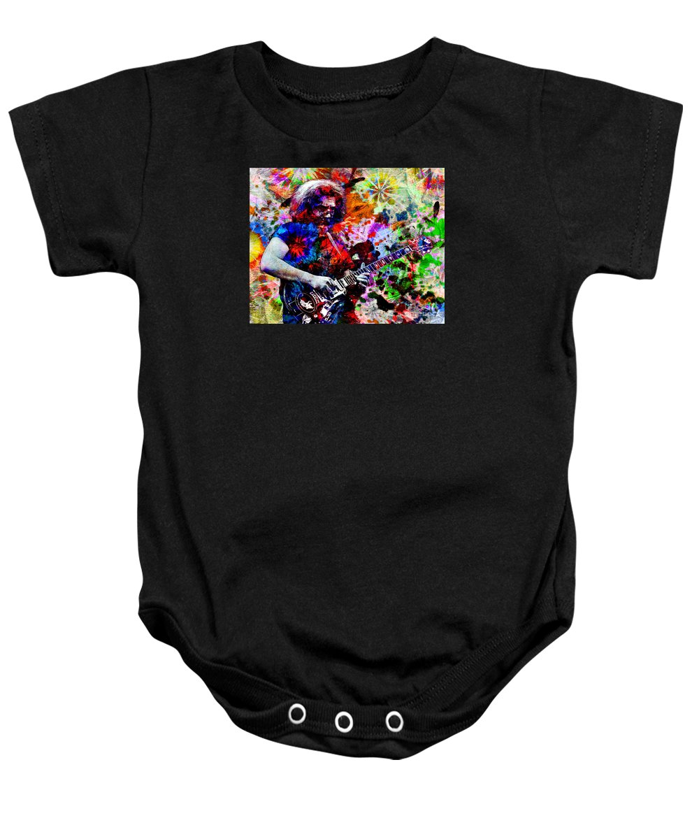 Psychedelic Baby Onesie featuring the painting Jerry Garcia - Grateful Dead by Ryan Rock Artist