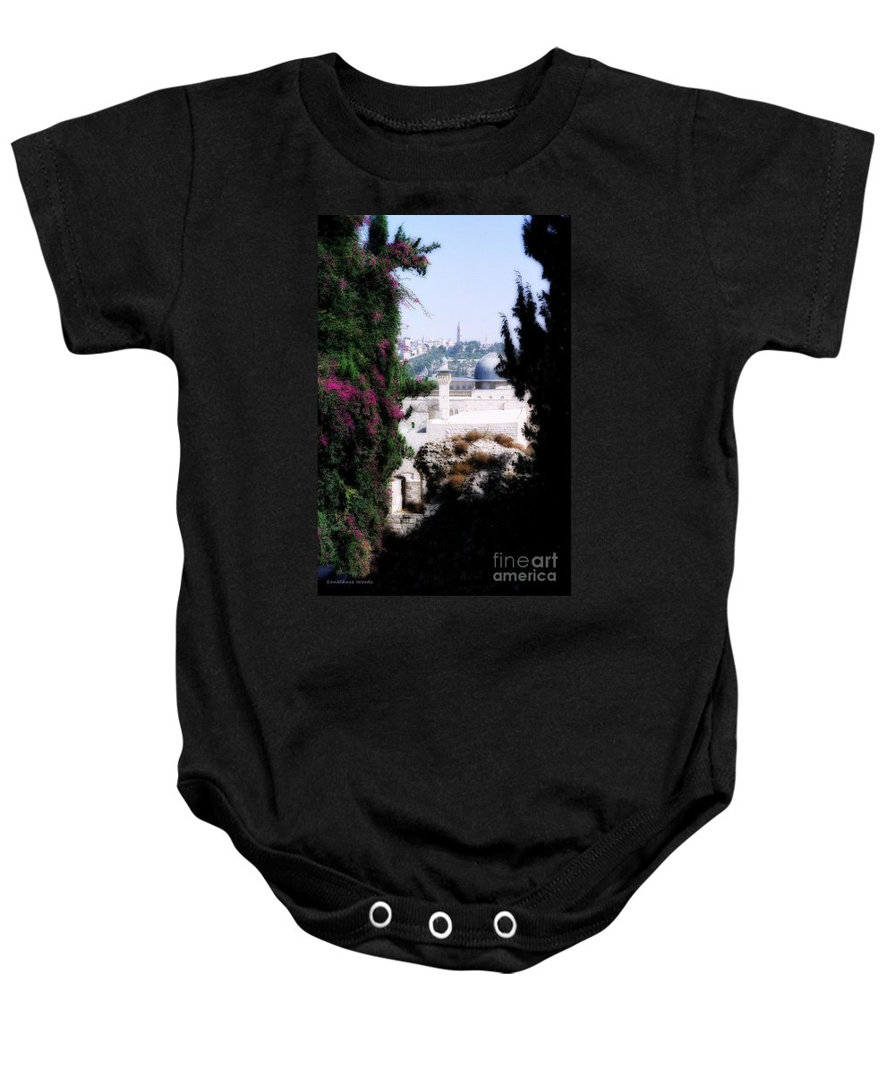 Jerusalem Baby Onesie featuring the painting Jerusalem Beautiful by Constance Woods