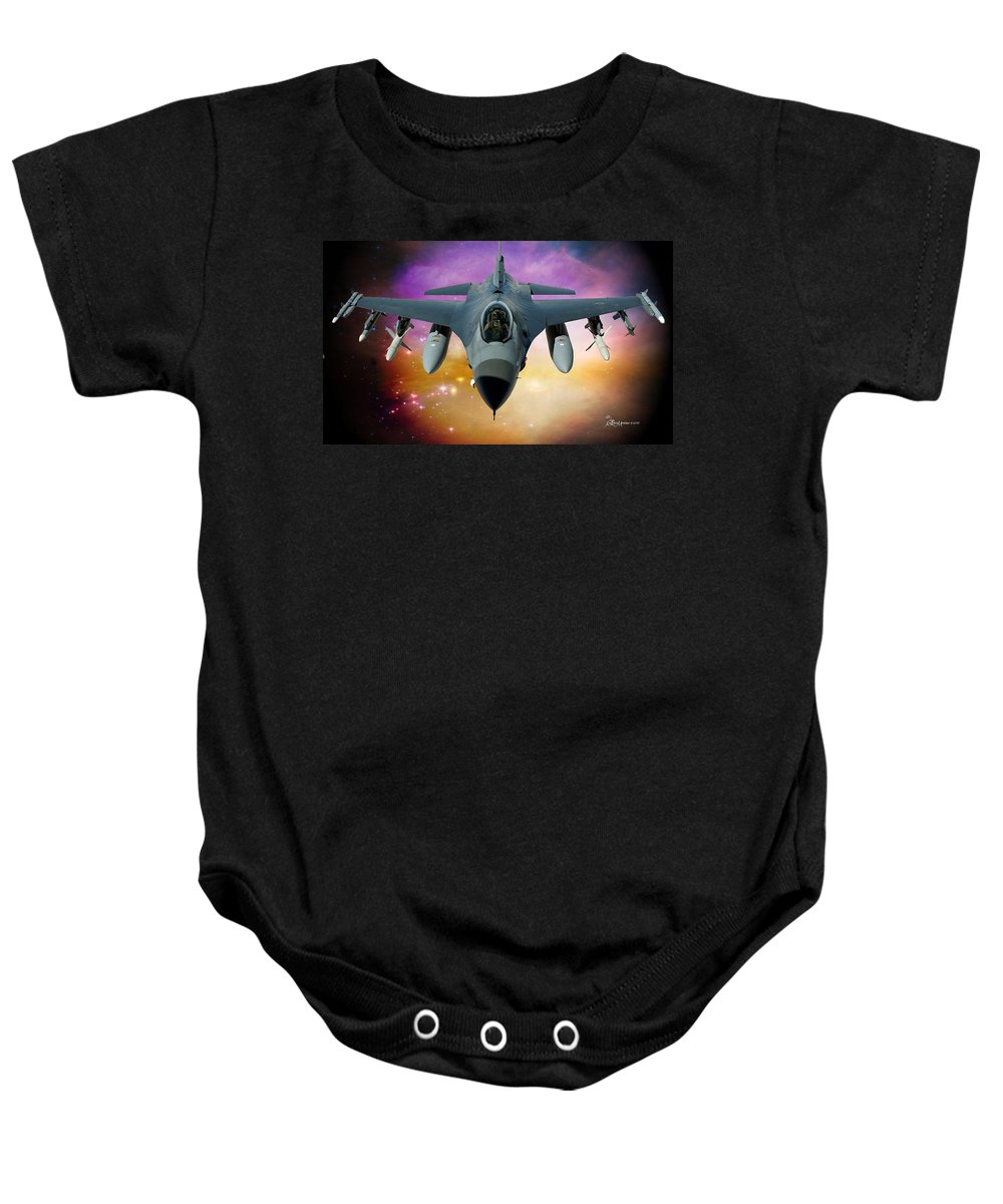 Jet Baby Onesie featuring the photograph Jet Fighter Aircraft F-16 Falcon Aircraft by Ericamaxine Price
