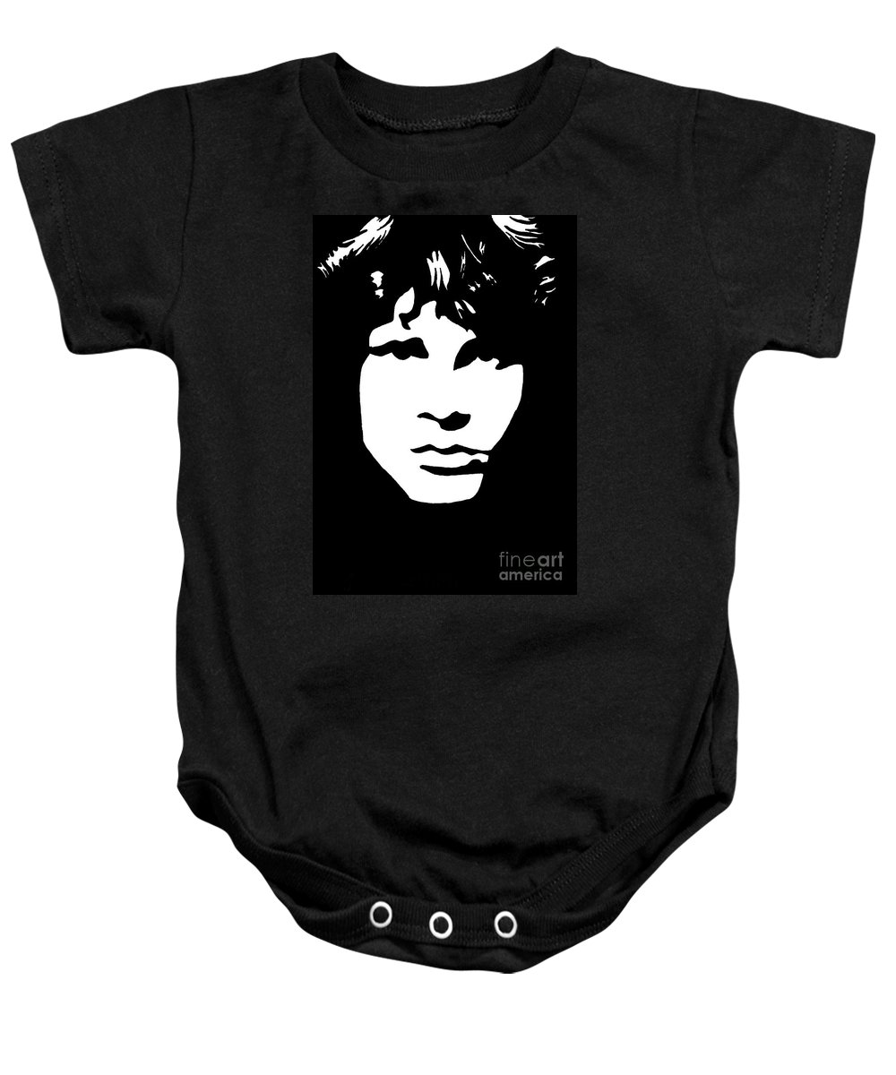 Black White Baby Onesie featuring the drawing Jim Morrison by Yael Rosen