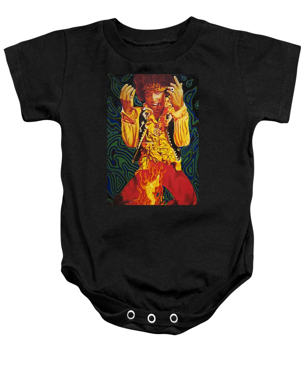 Jimi Hendrix Baby Onesie featuring the painting Jimi Hendrix Fire by Joshua Morton