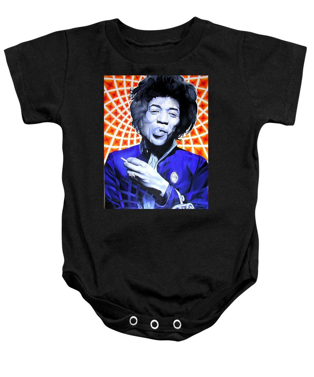 Jimi Hendrix Baby Onesie featuring the painting Jimi Hendrix-orange And Blue by Joshua Morton