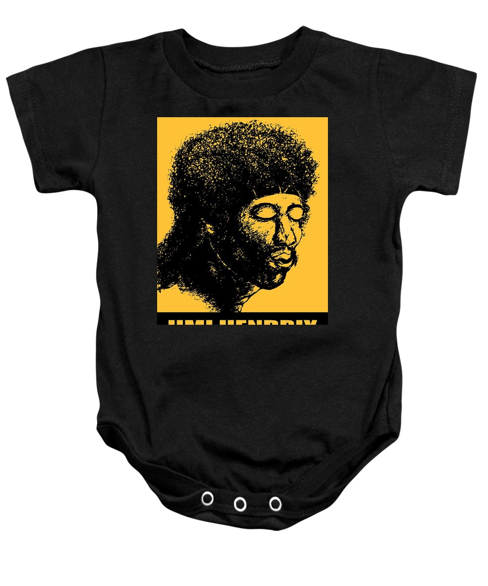 Jimi+hendrix Baby Onesie featuring the drawing Jimi Hendrix Rock Music Poster by Peter Potter