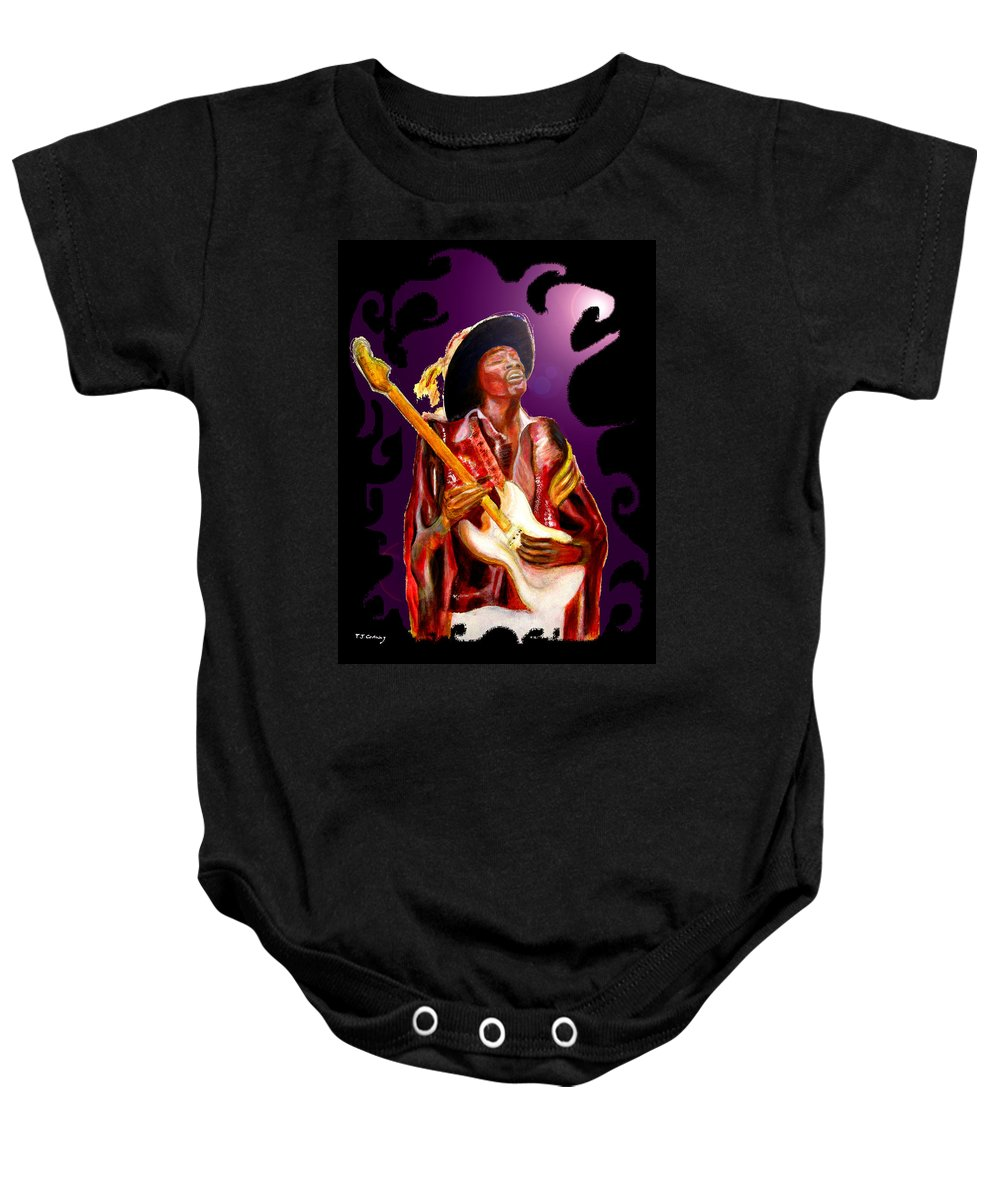 Rock Baby Onesie featuring the painting Jimi Hendrix Variations In Purple And Black by Tom Conway
