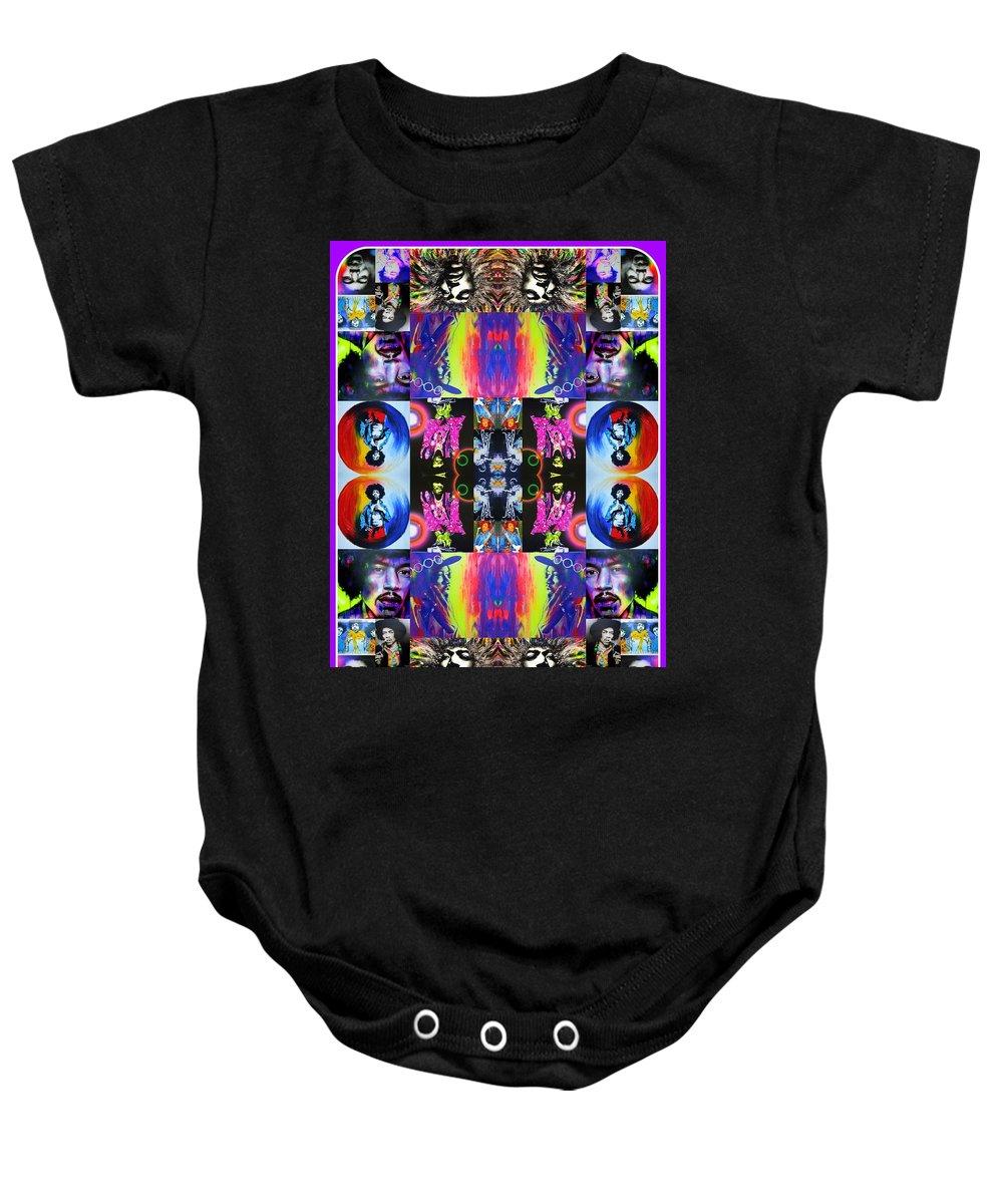 Jimi Hendrix Baby Onesie featuring the painting Jimi Kaleidoscope I by Christian Chapman Art