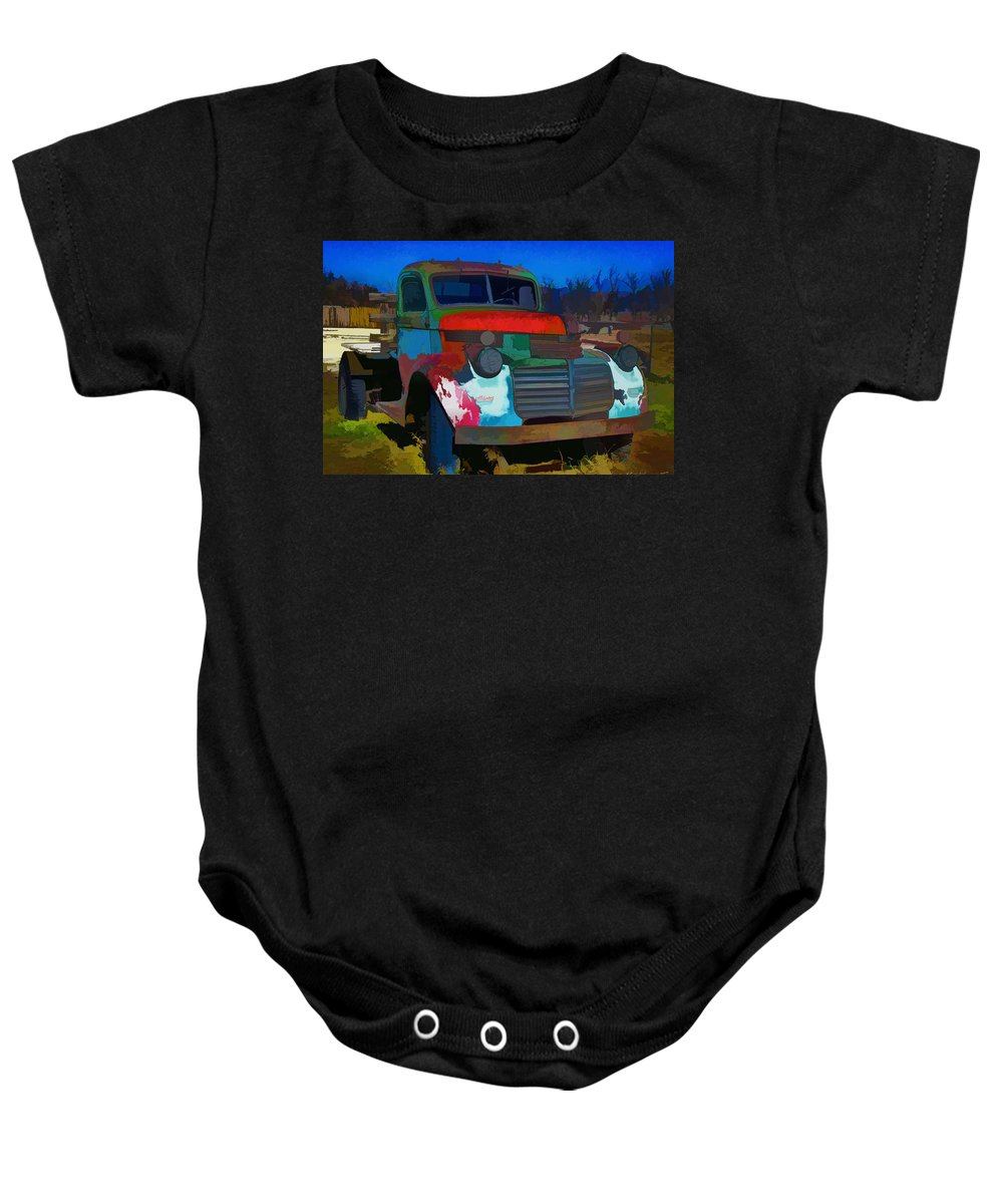 Gmc Baby Onesie featuring the photograph Jimmy In Taos - Abstract by Charles Muhle