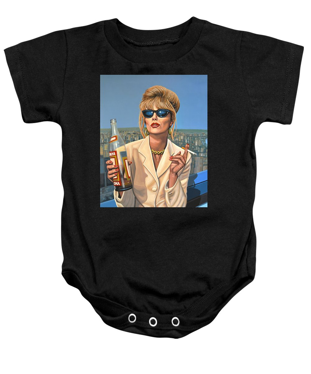 87f52033d Joanna Lumley Baby Onesie featuring the painting Joanna Lumley As Patsy  Stone by Paul Meijering
