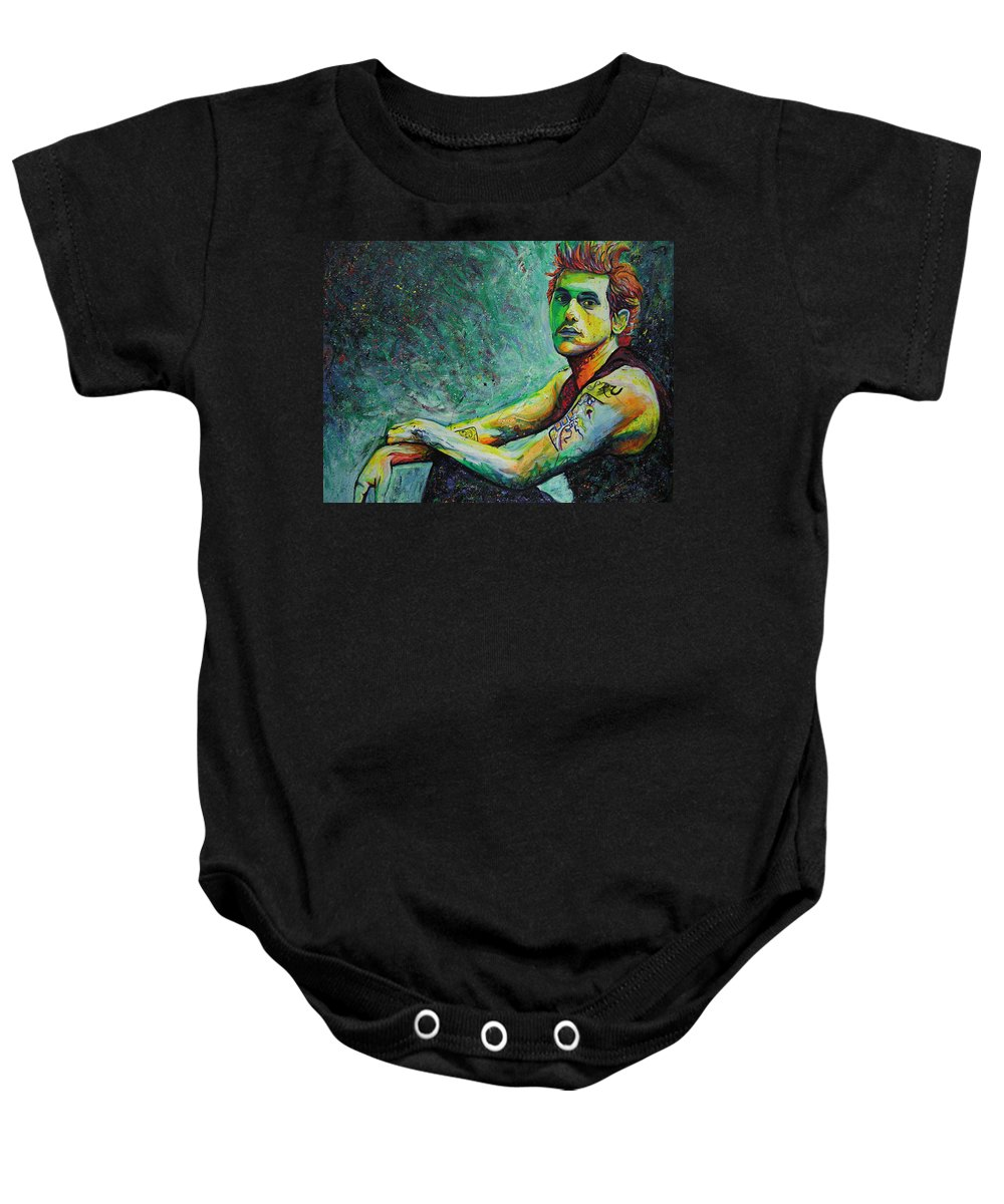John Mayer Baby Onesie featuring the painting John Mayer by Joshua Morton
