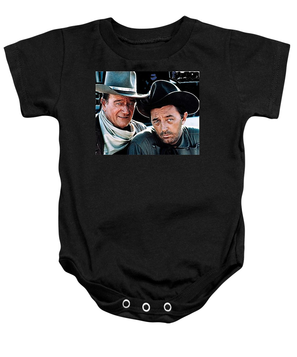 John Wayne Robert Mitchum El Dorado 1967 Publicity Photo Old Tucson Arizona Baby Onesie featuring the photograph John Wayne And Robert Mitchum El Dorado 1967 Publicity Photo Old Tucson Arizona 1967-2012 by David Lee Guss