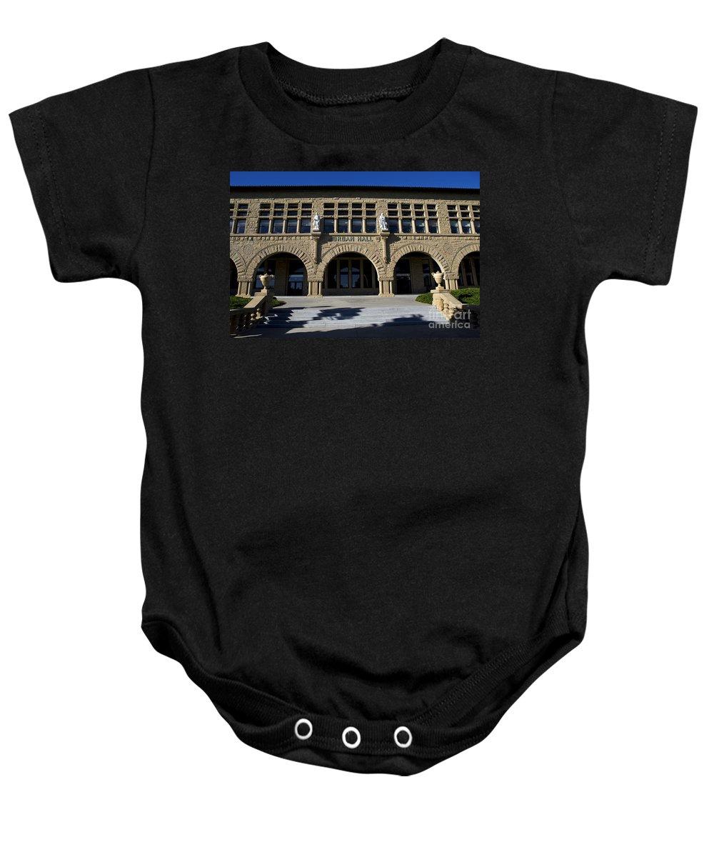 Jordan Hall Baby Onesie featuring the photograph Jordan Hall Stanford California by Jason O Watson