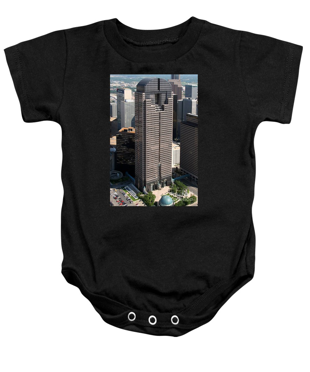 Dallas Baby Onesie featuring the photograph Jp Morgan Chase Tower Dallas by Bill Cobb